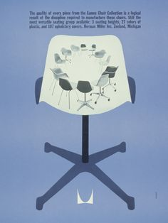 Irving Harper, ad design for Quality of an Eames Chair, Herman Miller. Herman Miller, Vintage Advertisements, Vintage Ads, Charles & Ray Eames, Mid Century Modern Design, Modern Graphic Design, Graphic Art, Ad Design, Logo Design