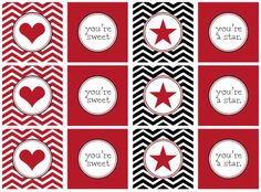 Modern Valentine cards you can print out, with matching Valentine's decorations for your V-day party. Plus: Valentine's Day coloring pages and activities for kids to print and color