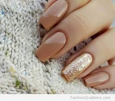 cute brown and gold nail winter designs