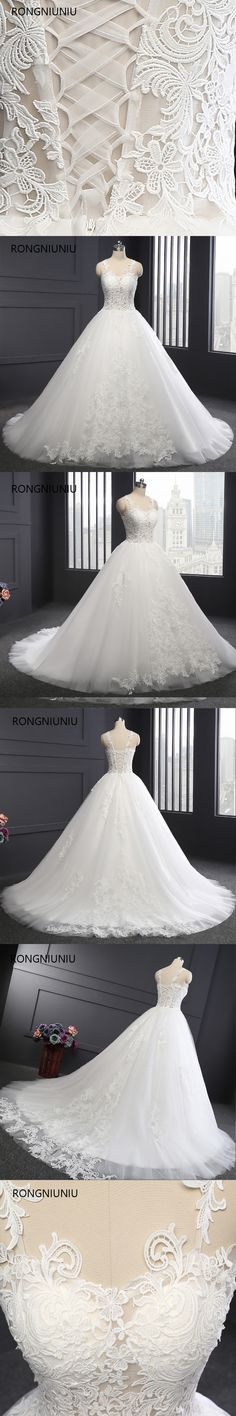 Wedding Dresses 2018 Vestido De Noiva Custom Made Long Wedding Dress Appliques Ball Gown Sweetheart Sexy Perspective Lace Up