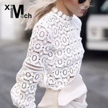 Fashion Casual Lace Blouses Stand-collar Long-Sleeve Hollow out Lace Seethrough Slim Black White Slim Blouse Tops BL12768C(China (Mainland))