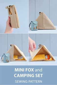 Mini fox doll with clothes + Camping set (camping tent, sleeping bag, backpack) for mini doll sewing patterns. Doll Sewing Patterns, Bag Patterns To Sew, Sewing Toys, Sewing Crafts, Small Sewing Projects, Sewing For Kids, Diy For Kids, Gifts For Kids, Baby Toys