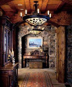 Dream House – Luxury Rustic Design Photos Traumhaus – Luxus Rustikal Design Fotos) – Suburban Men This image. Cabin Homes, Log Homes, Timber Homes, Interior And Exterior, Interior Design, Interior Architecture, Interior Decorating, Stone Interior, Interior Ideas