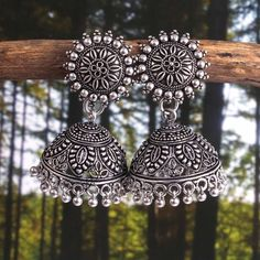 Bollywood Oxidized Silver Plated Sunflower Studs Light weight Party wear jhumka jhumki jewelry Earrings for women, Indian Jhumka For women Indian Jewelry, Silver Jewelry, Silver Earrings, Jhumki Earrings, Oxidised Jewellery, Jewelry Sets, Jewelry Trends, Jewelry Accessories, Earrings Handmade