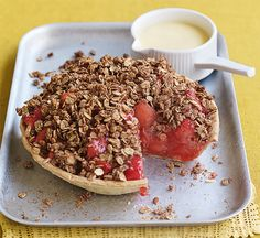 Rhubarb and apple crumble tart. A healthy take on a classic British favourite, this alternative is low in saturates and full of fruit.