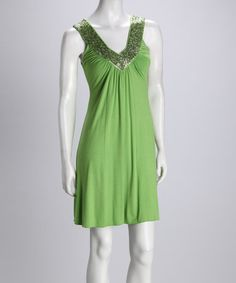 Loving this Lime V-Neck Sequin Dress - Women on #zulily! #zulilyfinds