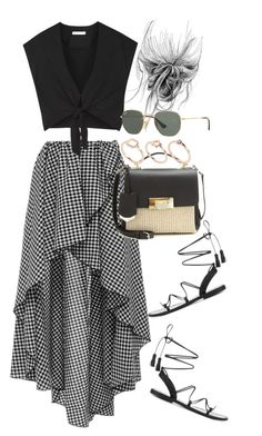 A fashion look from July 2016 featuring cropped shirts, high-low skirts and black strap sandals. Browse and shop related looks. Mode Outfits, Skirt Outfits, Chic Outfits, Fashion Outfits, Cute Comfy Outfits, Casual Summer Outfits, Simple Outfits, Mode Kylie Jenner, Alice Olivia