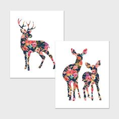 Deer Family Printable 8x10 Stag Print Doe with Baby Print Nursery Deer Wall Art Woodland Animal Navy and Pink Nursery Decor Floral Deer Art by MossAndTwigPrints on Etsy