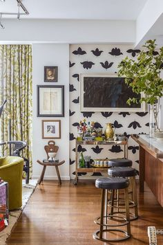 965927d95e89 Easily create an accent wall by covering it in a fun wallpaper. Wallpaper  For Kitchen