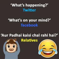 Facebook, Twitter Vs Relative; Funny Jokes – Hindi Jokes - http://ebooks2buy.biz/photojobs (Make Money With Your Photos world wide)