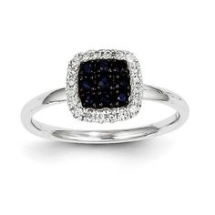 14K White Gold Diamond & Sapphire Square Ring Y11297S/AA