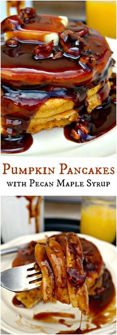 Subtle pumpkin flavored pancakes with an earthy maple and pecan flavorful syrup. A delicious fall breakfast or brunch addition! The Foodie Affair