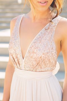Julia // Rose Gold Sequinned, Backless Wedding Dress.  In LOVE.