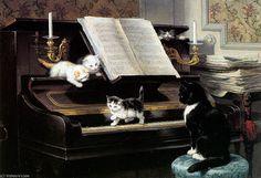 l artiste musical soleil de Henriette Ronner Knip (1821-1909, Netherlands)