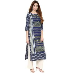LadyIndia.com #Kurtis, Casual Printed Cotton Blue Kurti For Women, Kurtis, Kurtas, Cotton Kurti, https://ladyindia.com/collections/ethnic-wear/products/casual-printed-cotton-blue-kurti-for-women