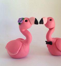 Flamingo Wedding Cake Topper fatti a mano