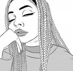 drawings of girls with boxbraids Hipster Girl Drawing, Tumblr Girl Drawing, Tumblr Sketches, Tumblr Drawings, Girl Drawing Sketches, Girl Sketch, Outline Drawings, Pencil Art Drawings, Cute Drawings