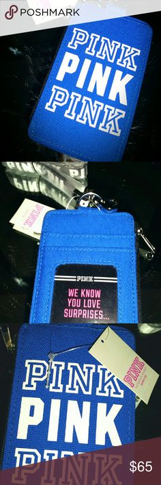VICTORIA SECRET PINK BLUE LANYARD ID WALLET NWT! New with tags!  Limited edition... No trades! PINK Victoria's Secret Accessories Key & Card Holders