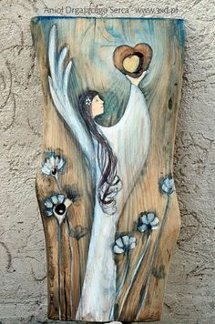 Angel Heart vibrating a gift and thanks for Parents of the Bride and Groom at a wedding or a wedding anniversary or other anniversary Angel Artwork, Driftwood Art, Picture On Wood, Whimsical Art, Pebble Art, Painting Techniques, Painting On Wood, Art Photography, Abstract Art