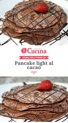 Pancake light al cacao - Ricette light - Pancake Recipe Chocolate Pancakes, Raw Chocolate, Pancakes And Waffles, Chocolate Recipes, Good Healthy Recipes, Sweet Recipes, Breakfast Recipes, Dessert Recipes, Desserts