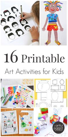 Printable art activities for kids that encourage creativity and help build art skills. These printables are all free except for one (which is cheap).