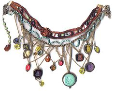 We are all in awe of this massive and beautiful necklace. This combines antiqued brass chain, silk ribbon, antique glass cameos and well just about every type of bead. The colors are warm and rich -you'll love it! Bohemian Jewelry, Jewelry Art, Antique Jewelry, Beaded Jewelry, Vintage Jewelry, Jewelry Accessories, Handmade Jewelry, Jewelry Design, Vintage Necklaces