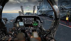 Image of a Harrier pilot's view as he prepares to take off from the aircraft carrier HMS Ark Royal.