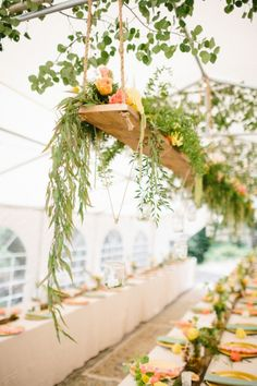 What a lovely way to do a hanging centerpiece. Very inexpensive and easy