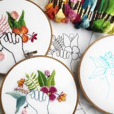 feminist embroidery pattern, she sells sea shells Modern Embroidery, Embroidery Patterns, Photo Stitch, Thread Painting, Dmc Floss, Diy Pillows, Digital Pattern, Design Elements, Crafty
