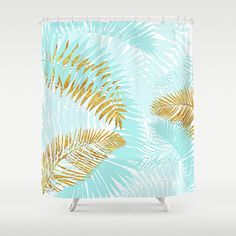 Aloha- Tropical Palm Leaves and Gold Metal Foil Leaf Garden Shower Curtain