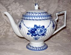 Blue & White Rose Teapot