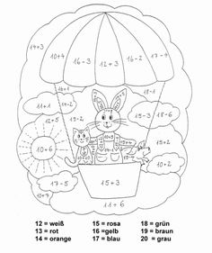 coloring page class 1 - Easter Eggs Day School Worksheets, Worksheets For Kids, Color By Number Printable, Rabbit Drawing, Drawing School, Maths Exam, Coloring Pages For Kids, Math Activities, Kids Learning