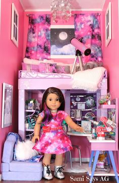 Sami Says AG- American Girl Doll House Bedroom-  Luciana Vega-  Space Galaxy Room