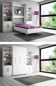 Stylish white murphy twin bed. http://www.murphybedhq.com/high-end-murphy-beds-online/ #murphybed #murphybedhq Guest Bedroom Office, Guest Bedrooms, Girls Bedroom, Bedroom Ideas, Smart Furniture, Multifunctional Furniture, Space Saving Furniture, Bedroom Furniture, Hidden Bed