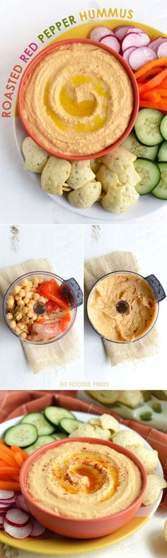 Homemade Roasted Red Pepper Hummus - an easy snack or appetizer to make at home!