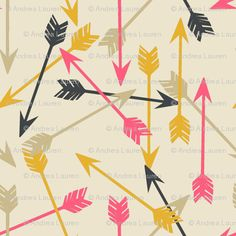 Arrows Scattered on Cream Fabric.