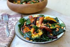 Winter-inspired Massaged Kale Salad w/ Roasted Roots & Maple Balsamic Dressing