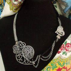 Portugal Viana Heart silver filigree necklace rhinestones