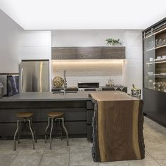 Workshop/APD Strives to Create Thoughtful, Emotive Environments Kitchen Bar Counter, Kitchen Cupboards, Kitchen Items, Kitchen Dining, Kitchen Decor, Wood Stool, Kitchen Fixtures, Cuisines Design, Kitchens