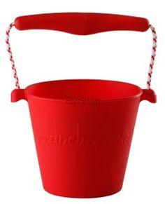 Scrunch bucket Zwijane wiaderko silikonowe Czerwone