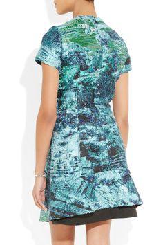 Proenza Schouler|Leather-trimmed bouclé-jacquard dress|NET-A-PORTER.COM
