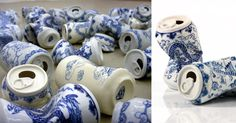 Adopting traditional decorative motifs found on Ming Dynasty ceramics, Chinese artist Lei Xue sculpted these humorous smashed aluminum cans that bridge the gap of some 600 years of art history. The pieces are part of an ongoing series titled Drinking Tea, and unlike the mechanical process of produci