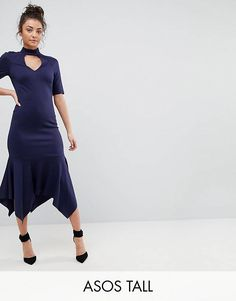 6c84d89fb438 ASOS TALL Midi Dress With Pep Hem and Collar Tall Dresses, Short Sleeve  Dresses,