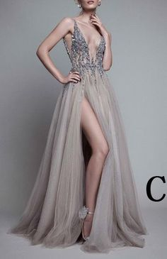Gray Deep V-neck Tulle Long Prom Dress With Crystals,Side Slit Prom Dress
