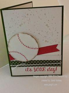 Jan Girl: Stampin' Up Fabulous Four Softball Birthday card
