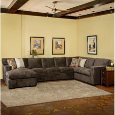 Somette Grande Down Wrapped Grey Fabric Sectional Sofa - Overstock Shopping - Big Discounts on Somette Sectional Sofas : dillon sectional sofa - Sectionals, Sofas & Couches
