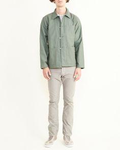 Workaday by Engineered Garments Utility Jacket Reversed Sateen in Olive