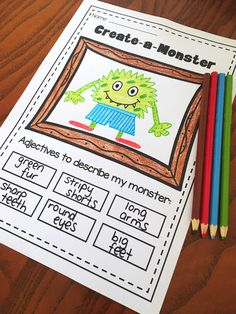 Adjective printable worksheet pack. No prep bundle for kindergarten, first grade and second grade. 34 printables.