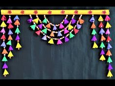 Door Hanging Decorations, Wall Hanging Crafts, Paper Decorations, Ganpati Decoration Design, Diwali Decoration Items, Diwali Diy, Diwali Craft, Janmashtami Decoration, Diy Wall Painting