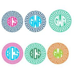 Greek Key Monogram Round Circle Frames Cuttable Design Cut File. Vector, Clipart, Digital Scrapbooking Download, Available in JPEG, PDF, EPS, DXF and SVG. Works with Cricut, Design Space, Sure Cuts A Lot, Make the Cut!, Inkscape, CorelDraw, Adobe Illustrator, Silhouette Cameo, Brother ScanNCut and other compatible software.